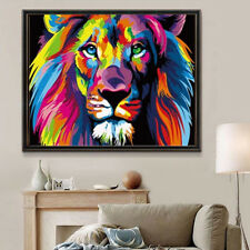 Multi-Colored Lion Painting By Numbers Kit DIY Painting Home Decor Wood Framed
