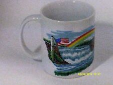 """NIAGRA FALLS"" Picture FALLS & Flags of USA/CANADA Porcelain Coffee Cup 3.75 "" H"