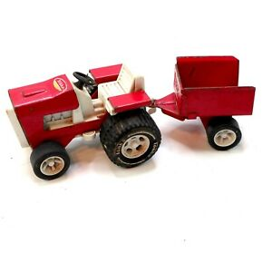 Tonka Small Red Lawn Tractor  Vintage 1980s Pressed Steel Tractor and Trailer