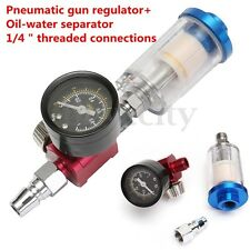Spray Paint Gun Air Regulator Gauge & In-line Air Oil Water Separator Filter Kit
