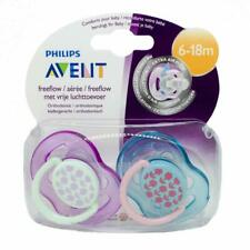 New Philips Avent Fashion Flower Free Flow Soother 6-18M Twin Pack