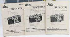 Leitz Directions Part I +  Part II + Part III English Anglais 1938 Manuel