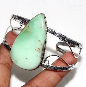 Chrysoprase 925 Silver Plated Adjustable Bangle Ethnic Jewelry GW