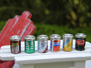 Miniature Dollhouse FAIRY GARDEN Accessories ~ 6 Assorted Cans of Soda Pop ~ NEW
