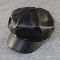 Women's Cap Ladies Hat Faux Leather Cap Cabbie Casquette Newsboy Biker