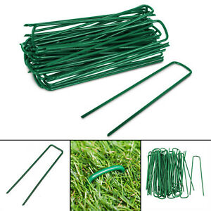 50 Green Artificial Grass Turf U Pins Metal Galvanised Pegs Staples Weed