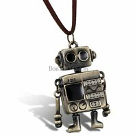 Mens Bronze Tone Robot Pendant Necklace w Brown Leather Adjustable Cord Chain