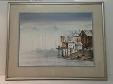 John Ebner 'Gig Harbor WA' Watercolor Pacific Northwest c 1977 Framed 37x29