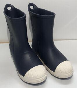 Crocs Rain Boots Kids 3 Bump It Boots Waterproof Navy Blue - Barely Used