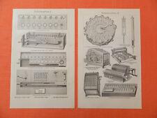 Machines à calculer machine à calculer Brunsviga Burrough Antik Gravure sur bois 1906