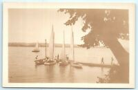 VTG RPPC Real Photo Copake Lake? NY New York Sail Boats Men A2