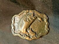 Vintage Brass Jumping Fish Bass Fishing Belt Buckle