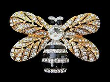 Bumble Honey Bee Insect Clear Rhinestone Crystal Golden Tone PIN Brooch A2