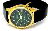SEIKO 5 AUTOMATIC MEN,S GOLD PLATED VINTAGE GREEN DIAL MADE JAPAN WATCH  ORDER..
