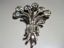 Vintage Original EISENBERG STERLING Silver Rhinestone Large FUR CLIP Pin Brooch