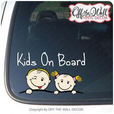 "Boy & Girl ""KIDS ON BOARD"" Vinyl Car / Truck / Vehicle Decal Sticker"