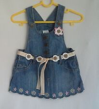 00 denim pinafore dress embroidered flowers scalloped hem heart button belt 3-6m