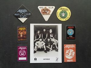 ANTHRAX,8x10 B/W Promo Photo,7 Original Backstage passes