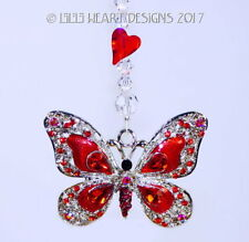 BIG RED Butterfly m/w Swarovski Beads Car Charm Suncatcher Lilli Heart Designs