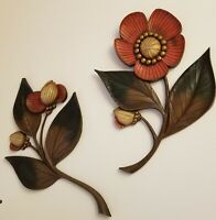 """MCM Vintage 1964 Syroco """"Wood"""" Poppy Poppies Floral Wall Art Hanging 4978, 4979"""