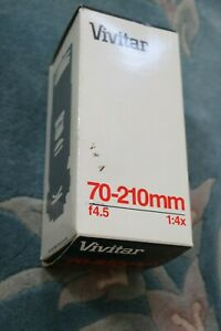 Vtg. VIVITAR Japan for Pentax 70-210mm f4.5 1:4x 52mm Macro Camera Lens, In Box