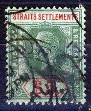 STRAITS SETTLEMENTS KG V 1918 $5 Die I Blue-Green Paper Olive Back SG 212b VFU