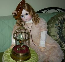 "MECHANICAL BIRDCAGE - 13"" - FEATHERED BIRD - MADE IN GERMANY - BRASS - ON/OFF"