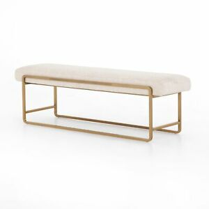 "60"" W Lotario Contemporary Bench Gold Brass Metal Rod Frame Hard Fabric Entryway"