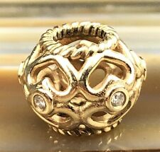 Signed ALE PANDORA 14k Gold Barrel Heart Clear Stone Filigree Bracelet Charm PJL