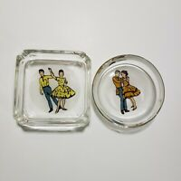 Vintage Glass Ashtray and Matching Coaster lot Dancing Couple Dancers 50s