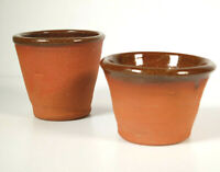 Vintage Studio Pottery Plant Pots Internal Glaze Stoneware X2