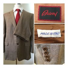 BRIONI Palatino Brown Herringbone Wool 2 Button Suit sz  40 Pants 38 X 28 Cuff