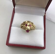 New Old Stock Solid 14 K Men's Pinky Ladies Lion Head Ruby Ring size 7
