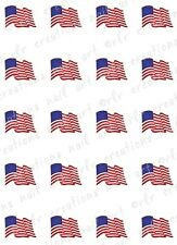 "20 Nail Decals * PATRIOTIC WAVING AMERICAN FLAG ""  Water Slide Nail Art Decals"