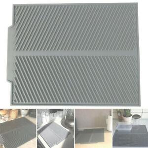 Silicone Dish Draining Mat Kitchen Pan Washing Up Drainer Tray Drying Board Pad