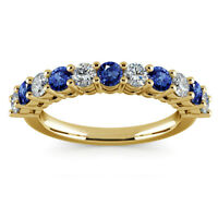 Real Eternity 0.98 Ct Blue Sapphire Gemstone Rings 14K Yellow Gold Diamond Ring