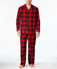 $105 CLUB ROOM Mens PAJAMA SET Flannel SHIRT PANTS Red Plaid LOUNGE SLEEPWEAR XL