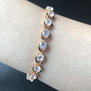 """2pcs 7"""" 5mm Round Zirconia Bracelet CZ Yellow Gold Filled Chain Mother's Gift"""