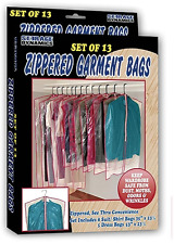 13 Clear Zippered Hanging Garment Bags Travel Storage Cover w/ Zipper Suit Dress