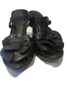BORN Womens Black Leather Wedge Flower Sandals Size 8 / 39 Euc