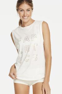 Fabletics McKinney Tee Sleeveless Winter White/Gold Logo Print M 8 NWOT