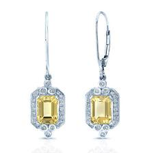 14k White Gold Golden Beryl Diamond Drop Earrings Natural Emerald Cut 3.31 TCW
