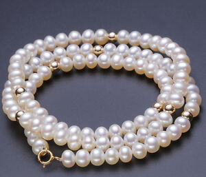 Sale Fashion 6-7mm white round Shape Natural Cultured Freshwater Pearl Necklace