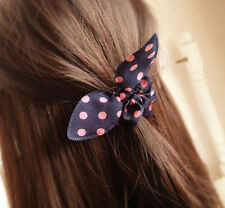 BN Girls Kids Childr navy blue Polka Dot Bow Hair Band Scrunchie