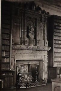 1896 ANTIQUE PRINT (QUEEN ELIZABETH I) CHIMNEY-PIECE OF THE LIBRARY AT WINDSOR