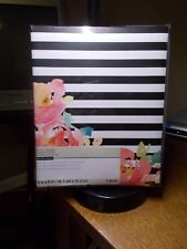 RECOLLECTIONS FOTO ALBUM WHITE+BLACK HORIZONTAL STRIPES WITH CORAL FLOWERS