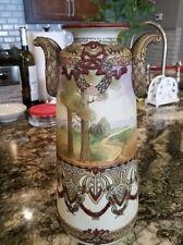 Antique Hand Painted Nippon Large Vase Moriage Enamel Landscape