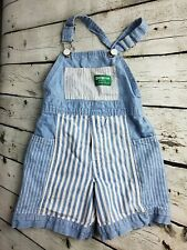 Vintage Osh Kosh Shortalls Blue White Stripe Size 4 Toddler 100% Cotton