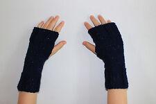Hand Knit Fingerless Gloves- Wrist Warmers-Texting Gloves- Navy Sparkle
