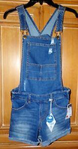New rue21 Junior Size S Blue Jean Distressed Shortalls Overalls Sadie Robertson